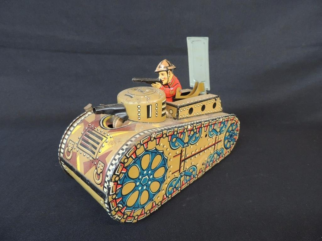 Vintage Marx Toys U.S. Wind-Up Metal Tank Toy Featuring - 2