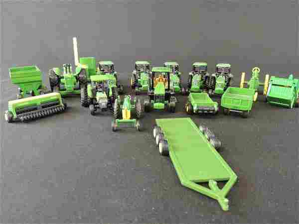 Group of 17 John Deere Tractors, Wagons, Plows, and