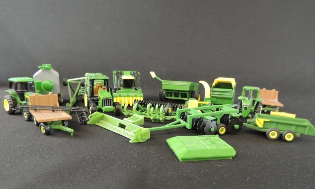 Group of 16 John Deere Tractors, Wagons, and More