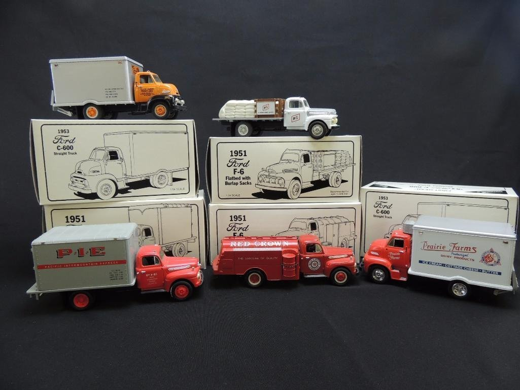 Group of First Gear Ford Trucks Featuring Red Crown, - 2