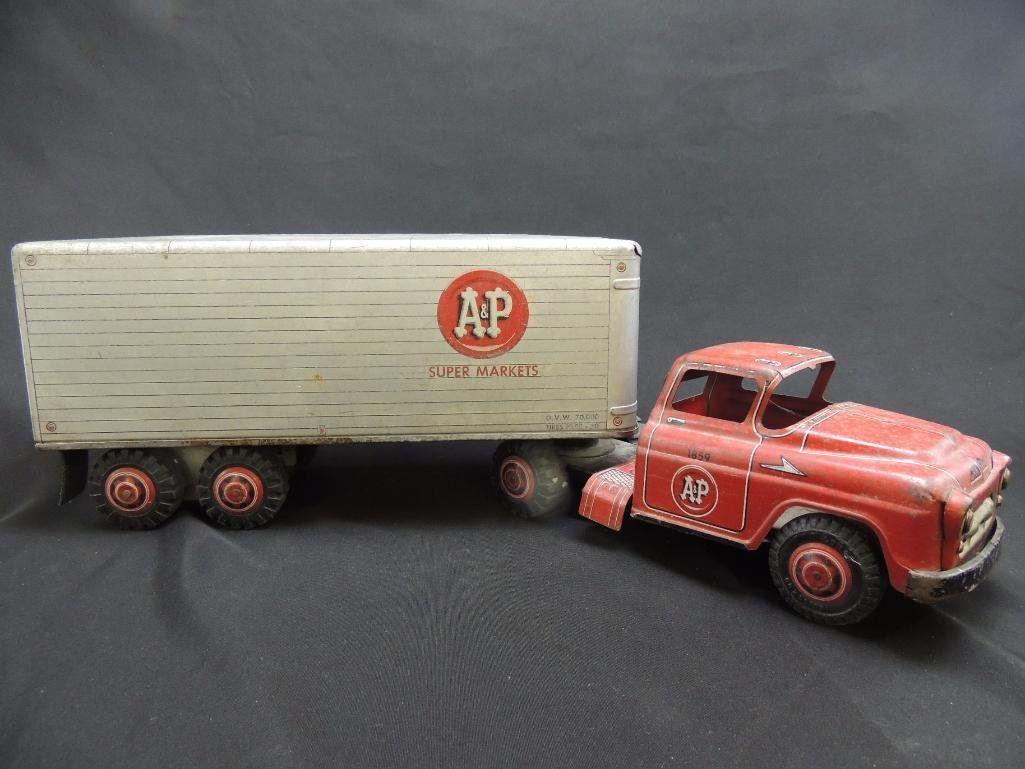 Large Antique A&P Super Markets Truck and Trailer