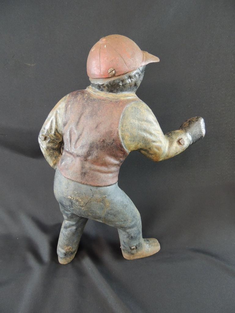 Antique Cast Iron Black Americana Lawn Jockey - 2