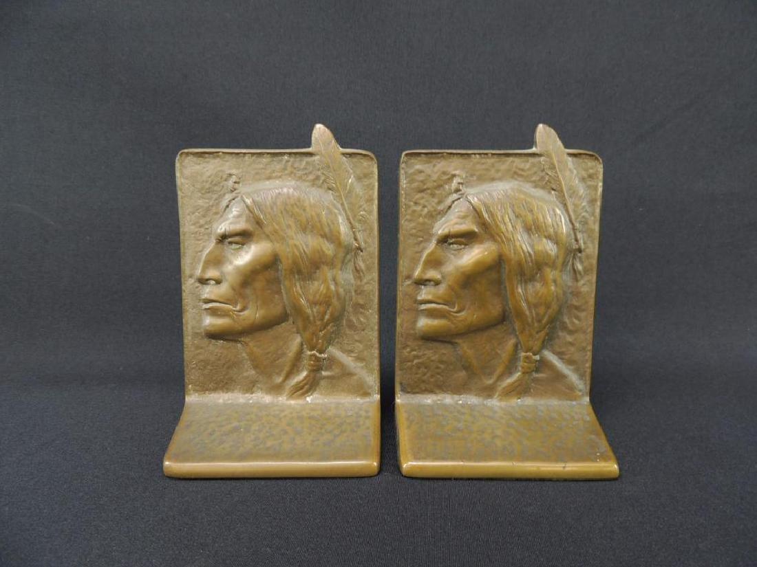 Antique Bronze Native American Indian Head Bookends