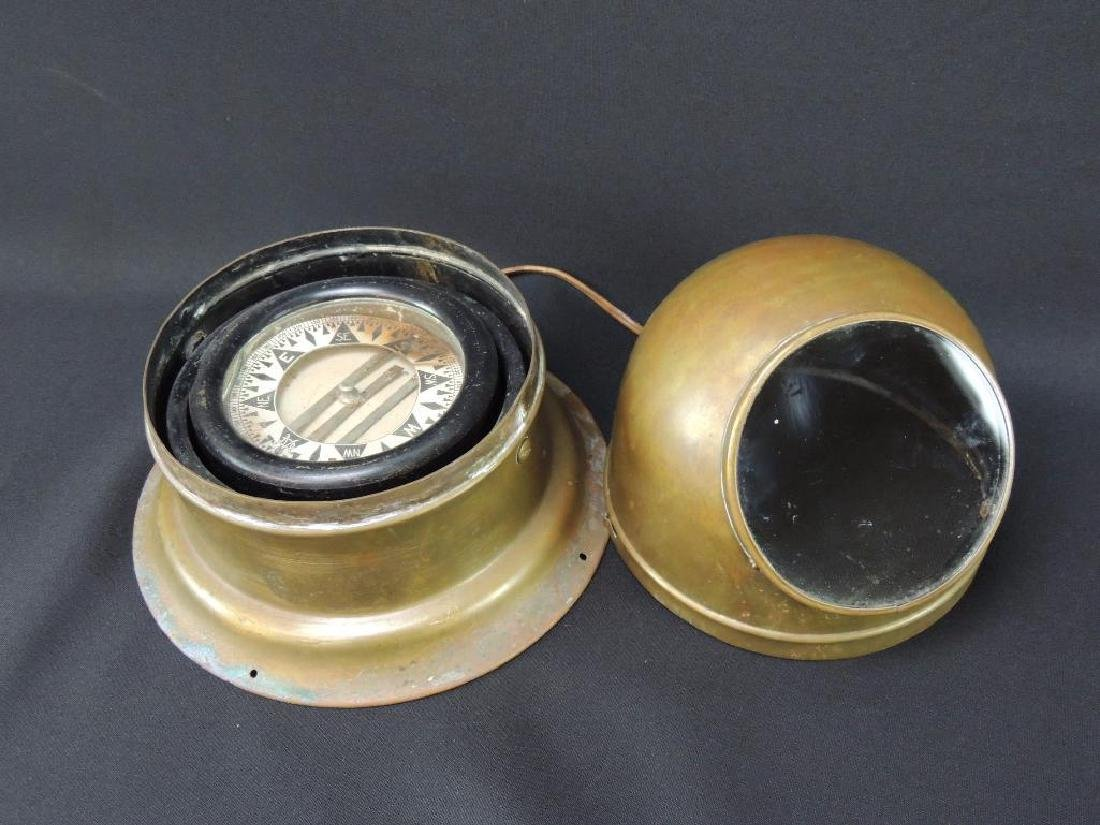 Antique Binnacle Brass Ships Compass - 2