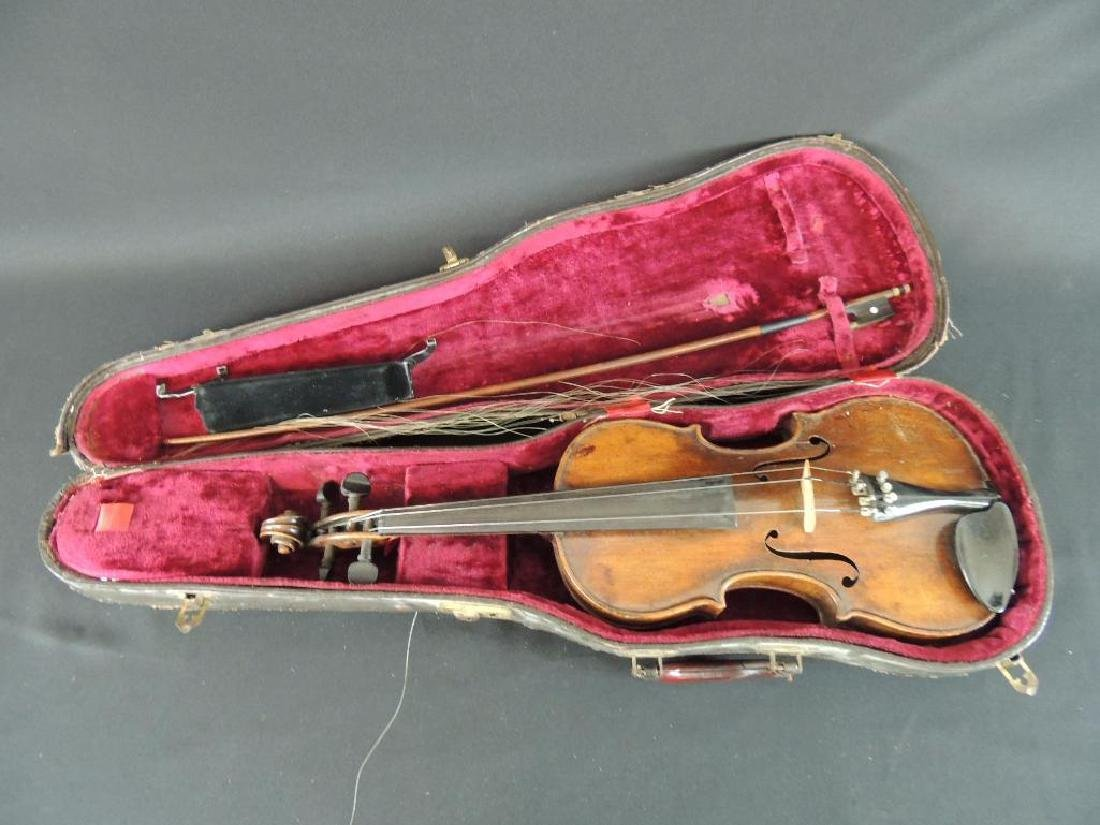 Antique Violin with Bow and Case