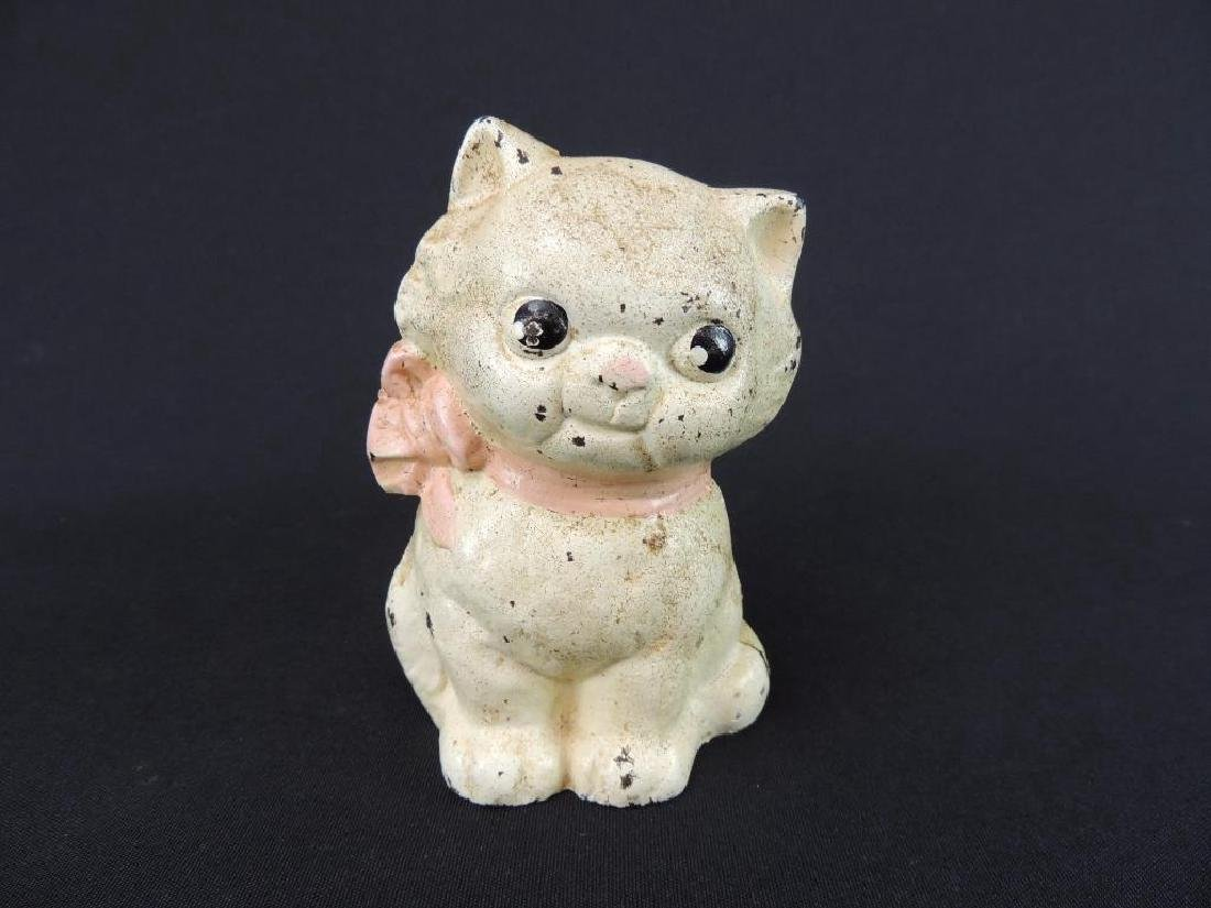 Antique Cast Iron Cat with Ribbon Coin Bank