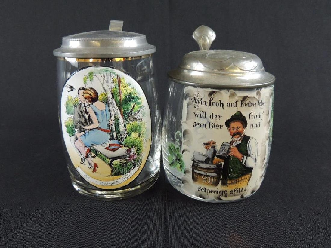 Pair of German Crystal Steins 0.5L