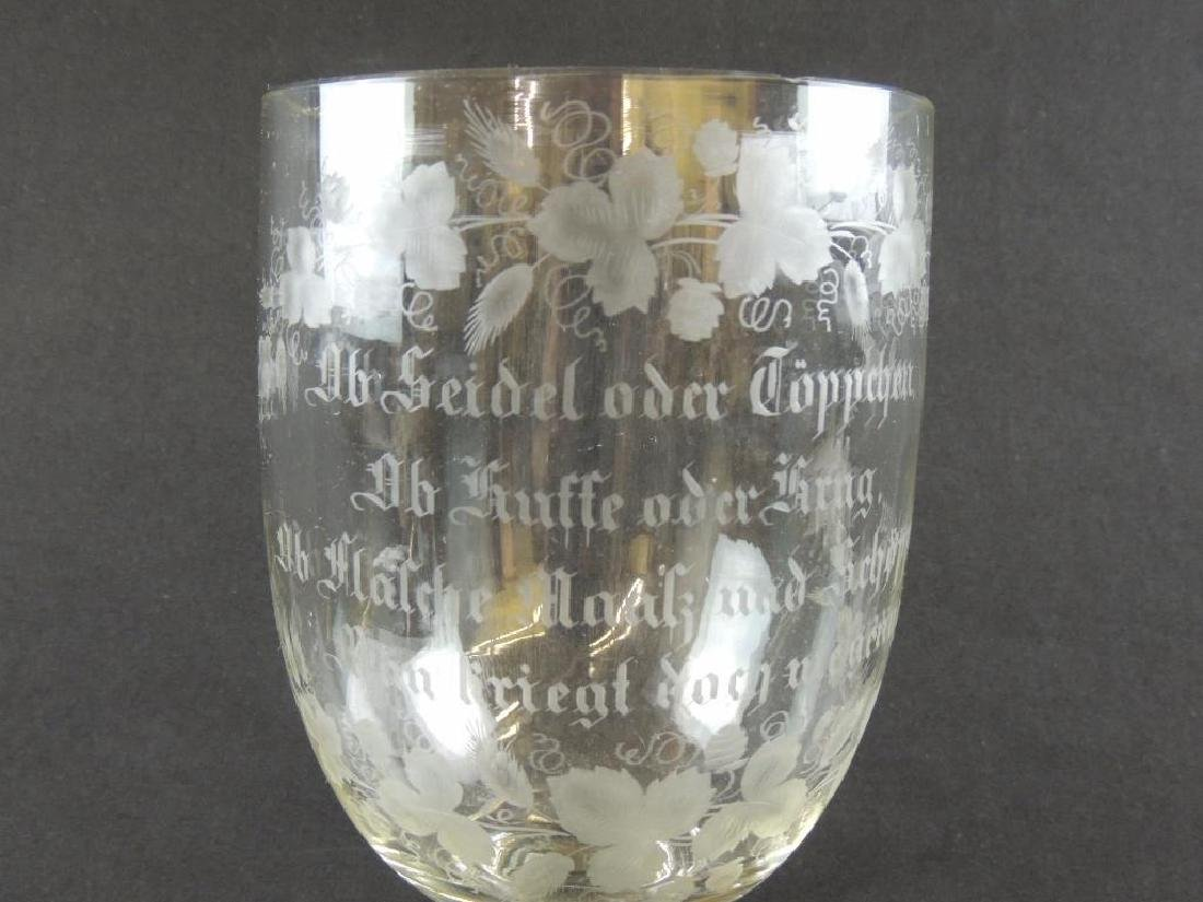 Enormous Antique German Crystal Beer Goblet - 2
