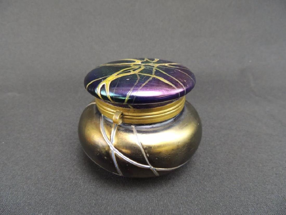Rare LoetzIridescent Threaded Art Glass Dresser Jar