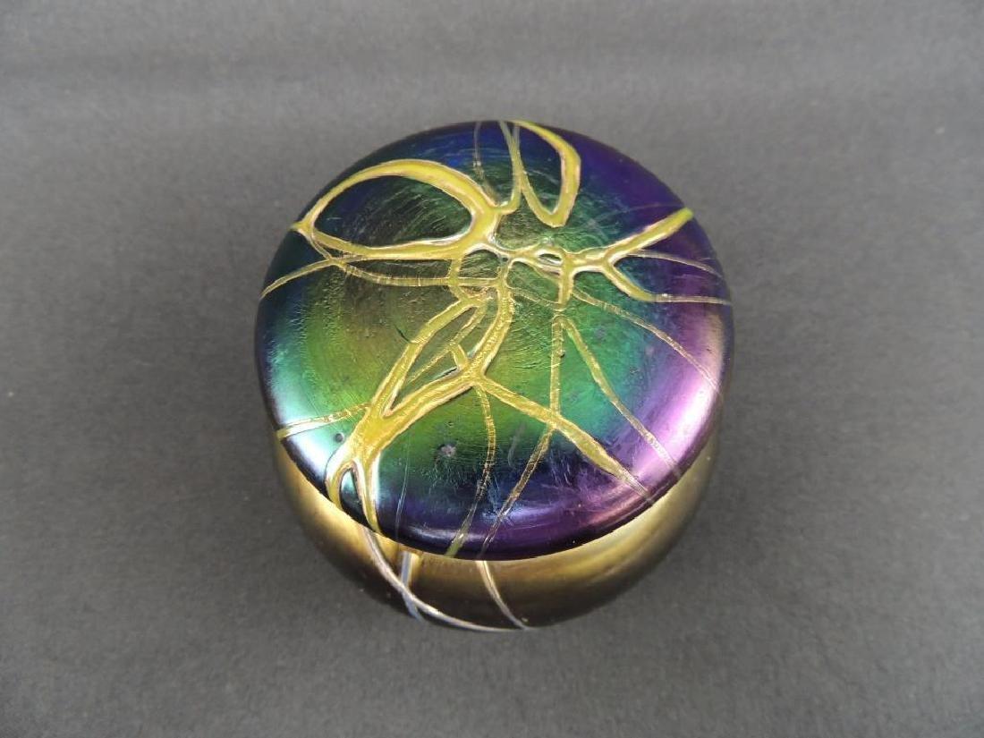 Rare LoetzIridescent Threaded Art Glass Dresser Jar - 2