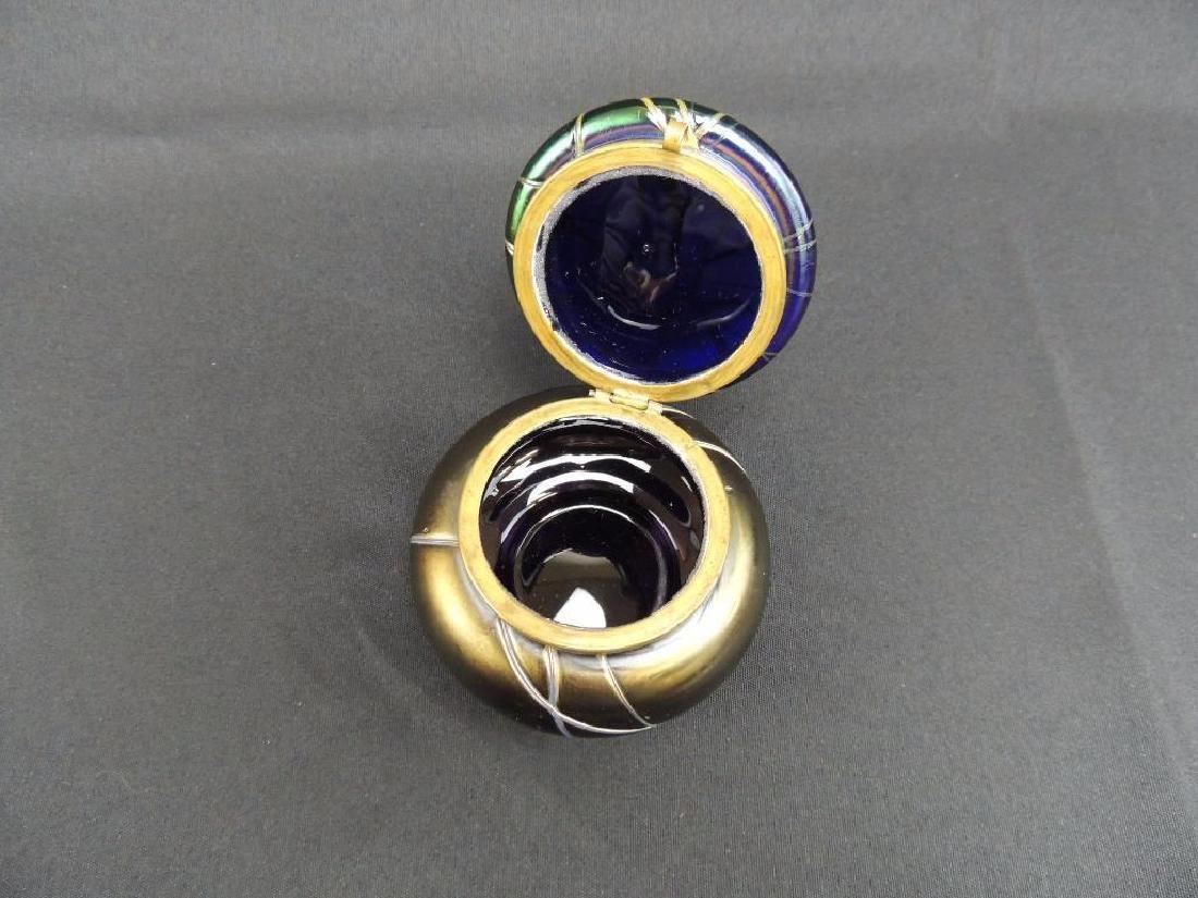 Rare LoetzIridescent Threaded Art Glass Dresser Jar - 3