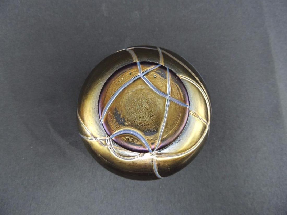 Rare LoetzIridescent Threaded Art Glass Dresser Jar - 4