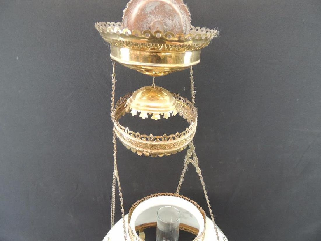 Antique Hanging Brass Oil Lamp with Floral Design and - 10