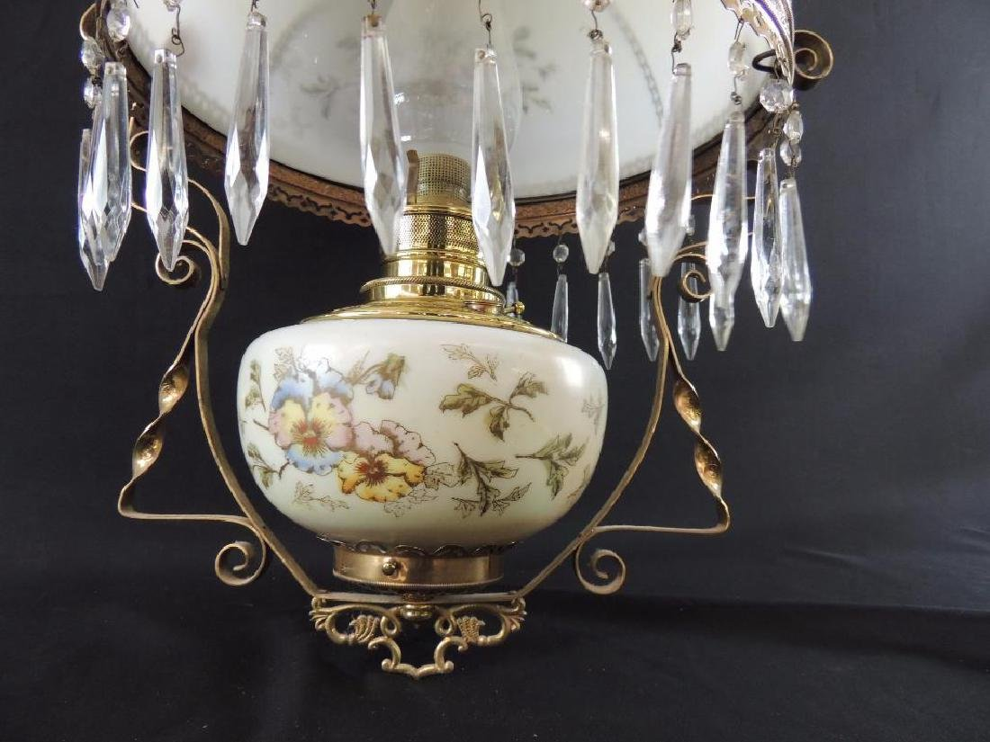 Antique Hanging Brass Oil Lamp with Floral Design and - 3
