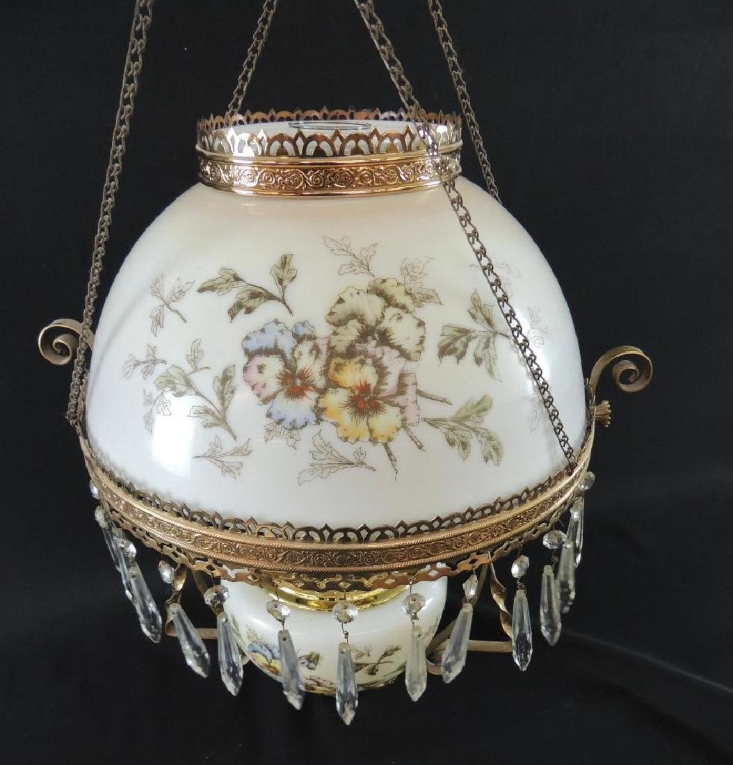 Antique Hanging Brass Oil Lamp with Floral Design and - 7