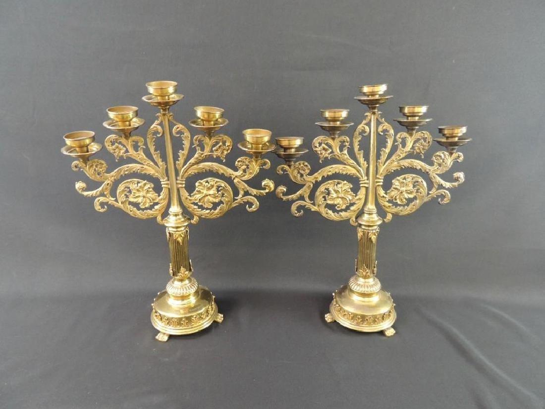 Pair of Antique Brass Candelabras with Floral Design