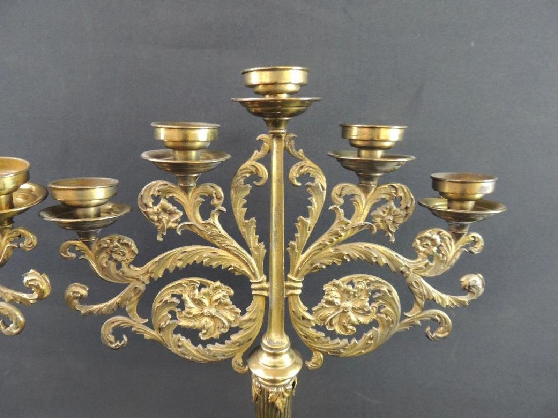 Pair of Antique Brass Candelabras with Floral Design - 3