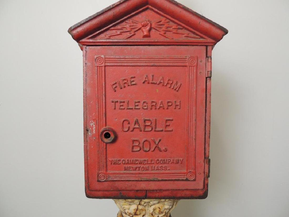 Antique Cast Iron Fire Alarm Telegraph Cable Box On - 2