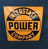 Interstate Power Company Vintage Porcelain Sign