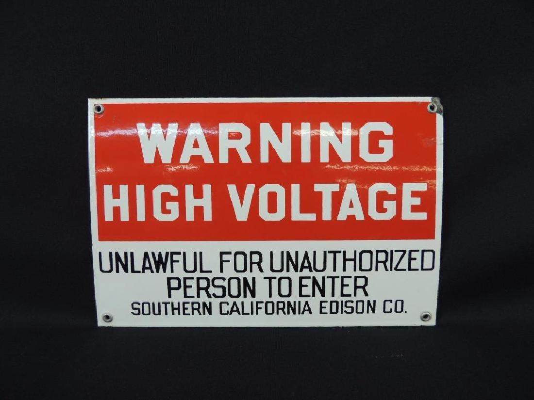 Warning High Voltage Vintage Porcelain Sign