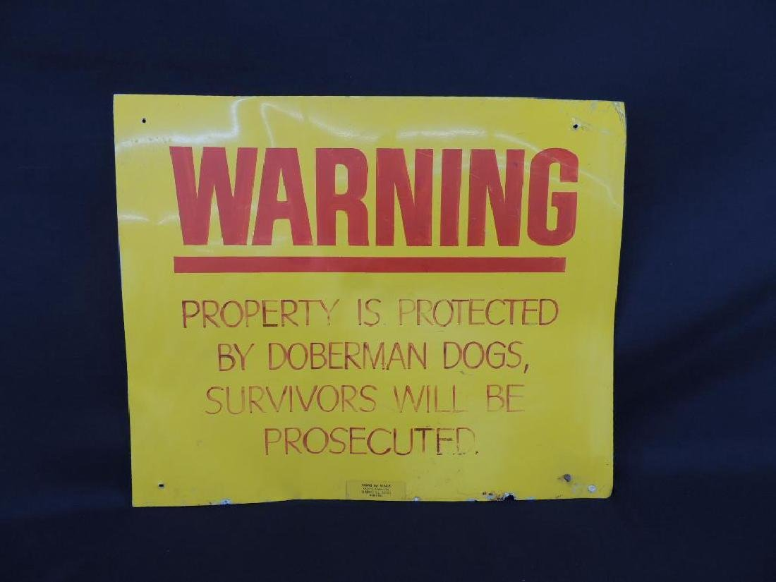 Warning Protected by Doberman Dogs Vintage Metal Sign