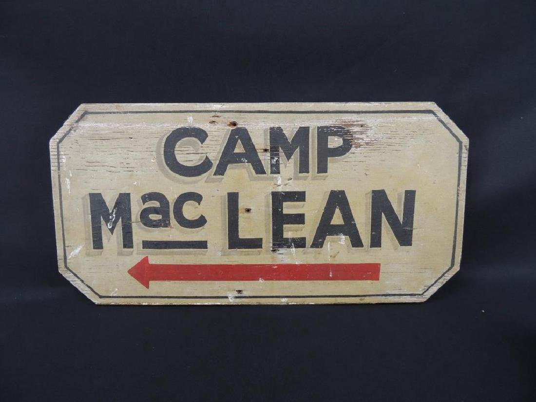 Camp MacLean Vintage Wood Sign with Chain