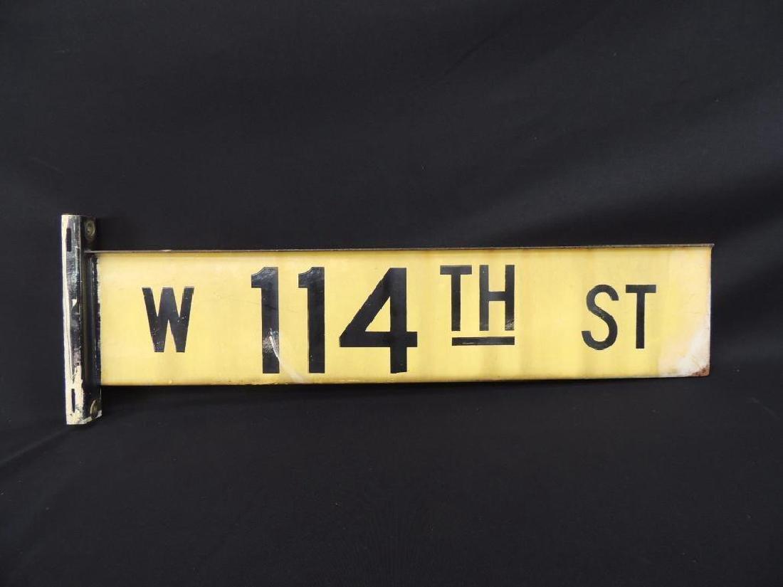 W 114th St. Vintage Porcelain Street Sign