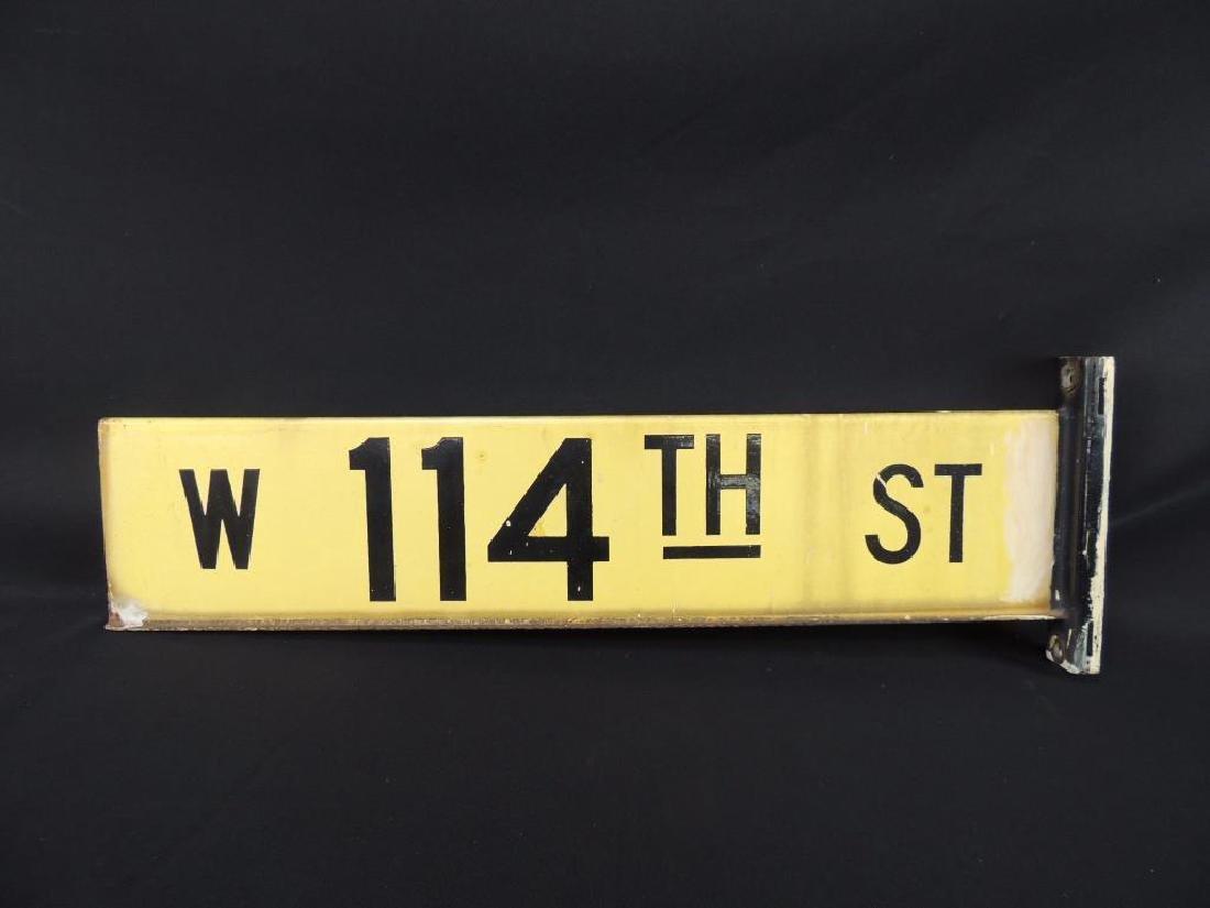 W 114th St. Vintage Porcelain Street Sign - 2