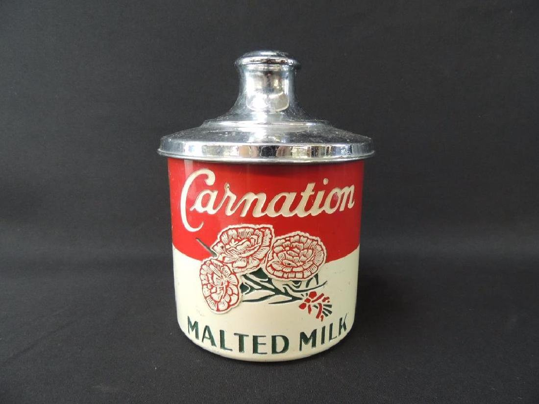 Vintage Carnation Malted Milk Advertising Metal Storage