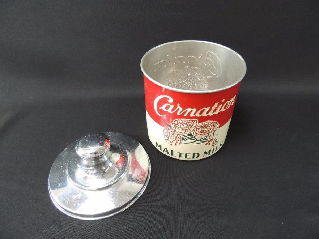 Vintage Carnation Malted Milk Advertising Metal Storage - 2
