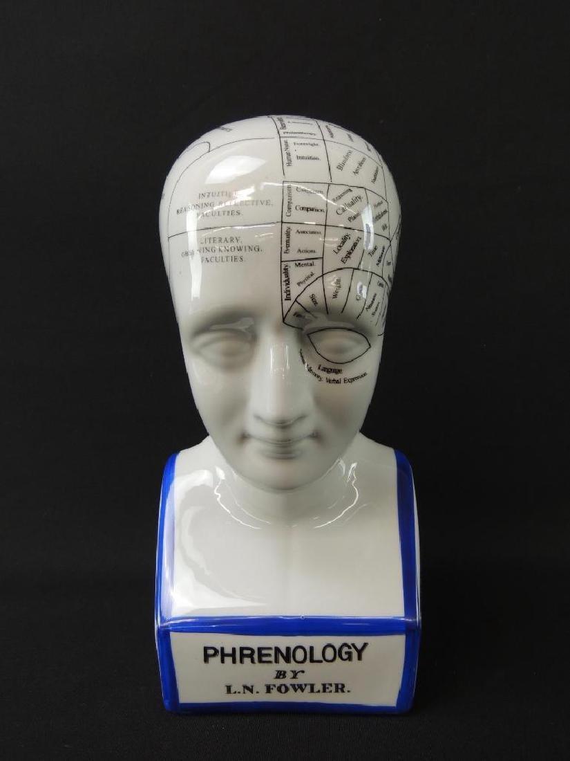 L.N. Fowler Phrenology Porcelain Bust