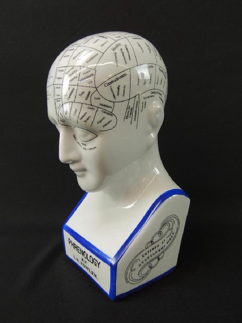 L.N. Fowler Phrenology Porcelain Bust - 2