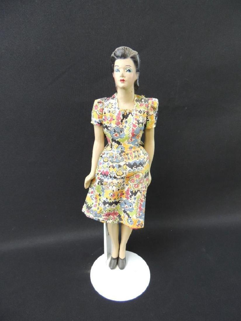 Vintage Miniature Rubber Manikin with Dress