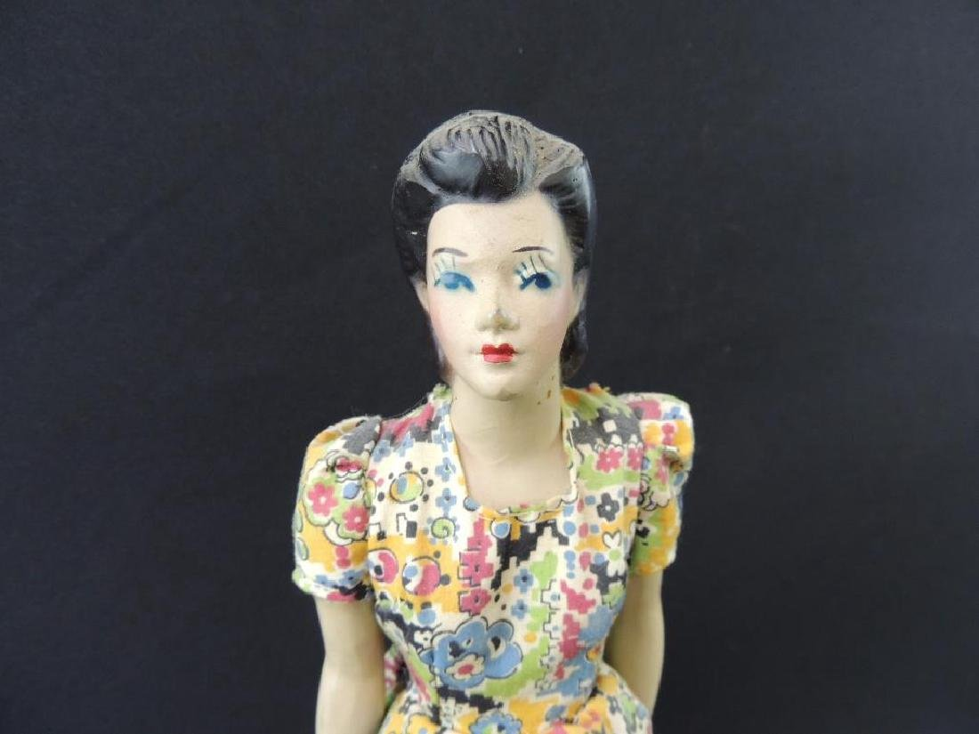 Vintage Miniature Rubber Manikin with Dress - 2