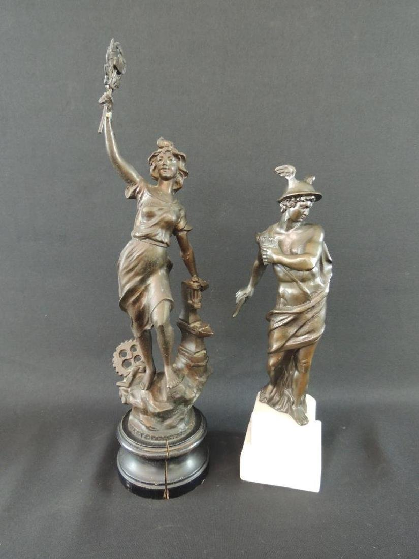 Group of 2 Bronze Statue Featuring Woman Blacksmith and