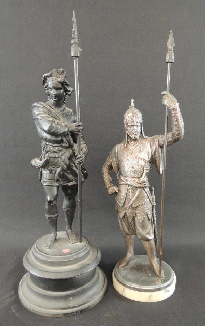 Group of 2 Statues of Men with Spears