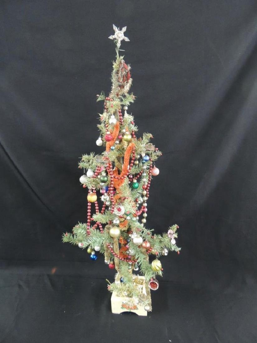 Antique Feather Christmas Tree with Ornaments