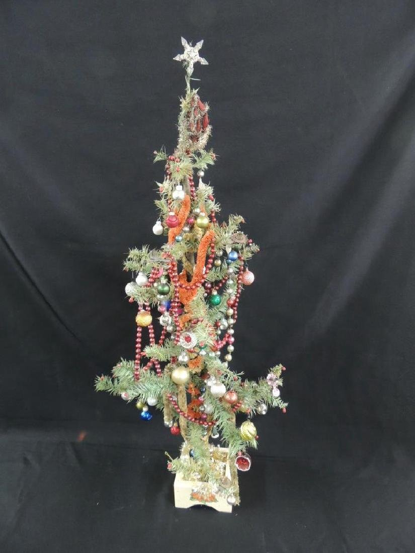 Antique Feather Christmas Tree with Ornaments - 2