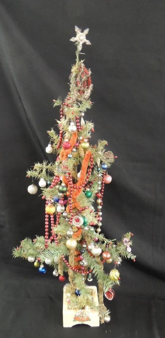 Antique Feather Christmas Tree with Ornaments - 3