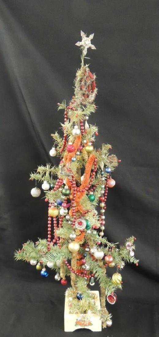 Antique Feather Christmas Tree with Ornaments - 4