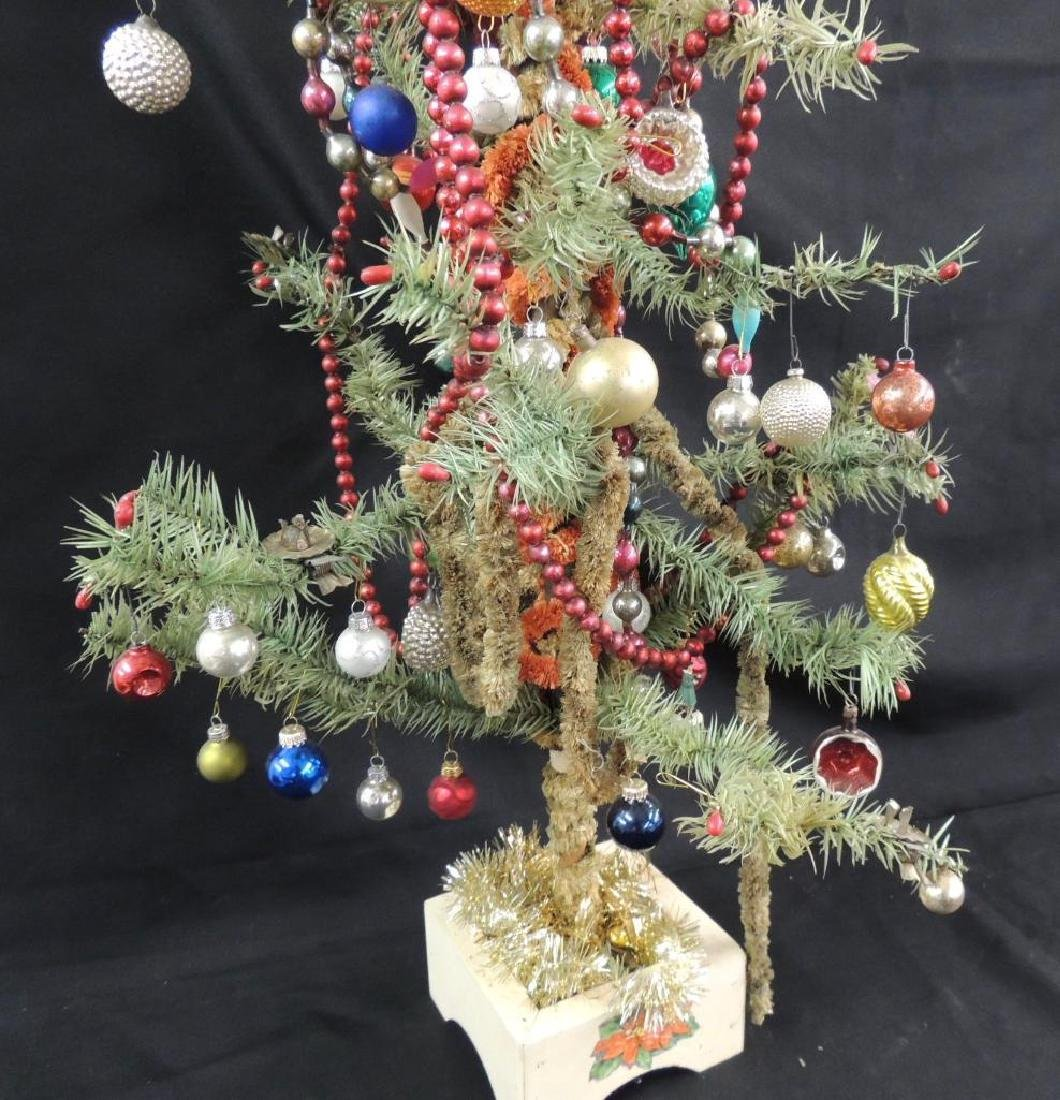 Antique Feather Christmas Tree with Ornaments - 5