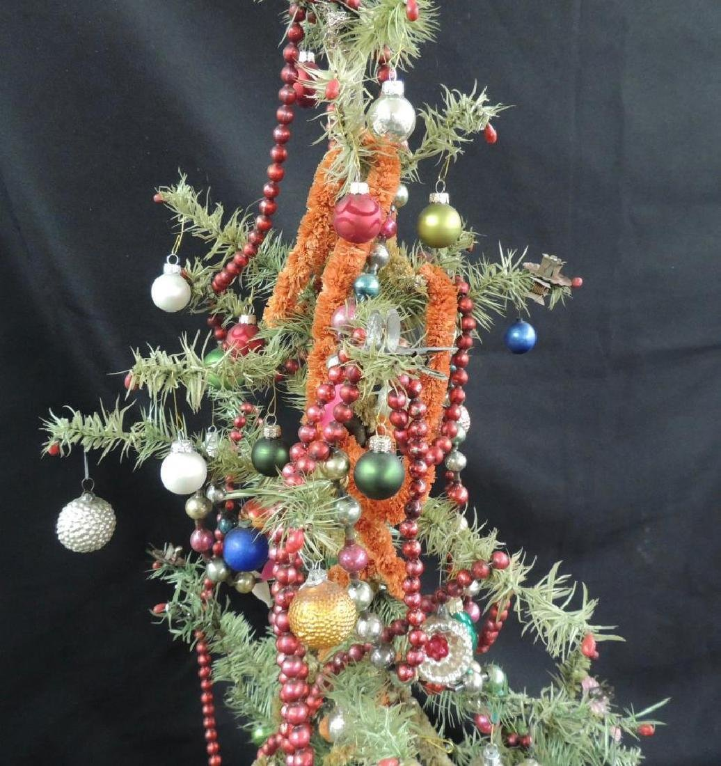 Antique Feather Christmas Tree with Ornaments - 6