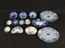 Group of 13 Flow Blue Dishes and Plates