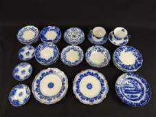 Group of 40 Flow Blue Plates Saucers and Cups