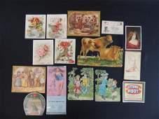 Group of Ephemera Featuring Die-Cuts, Tradecards,