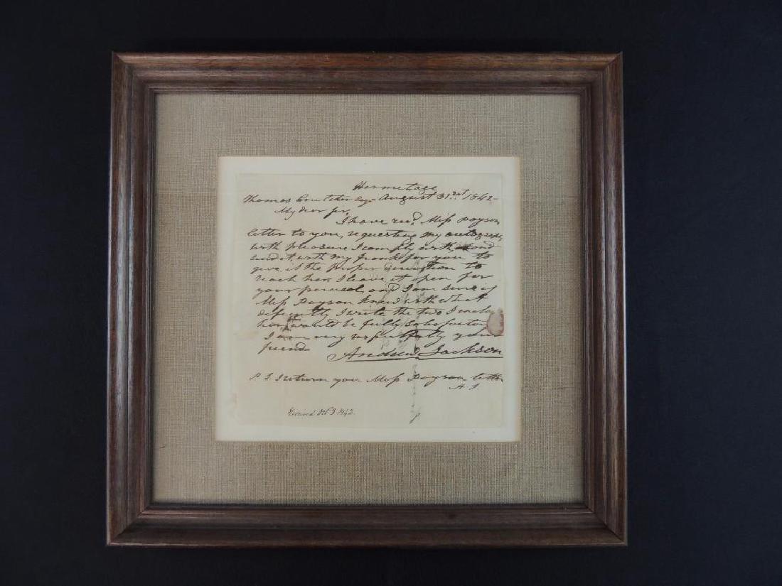 President Andrew Jackson August 21st 1842 Signed Letter