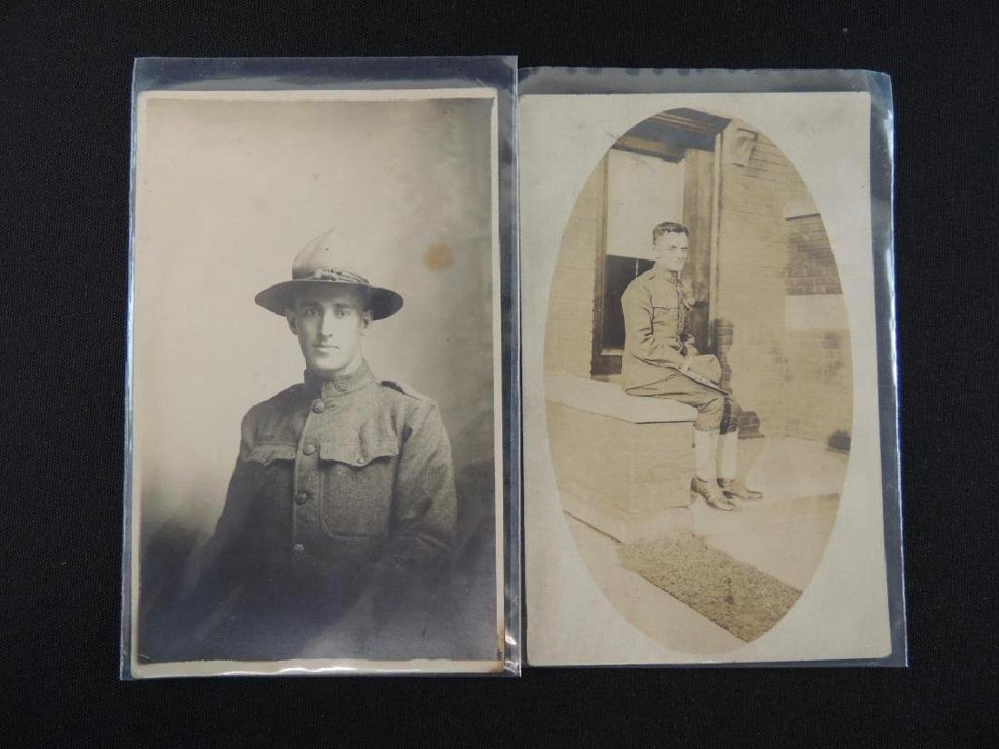 Group of 2 Real Photo Postcards Featuring WW1 Soldiers