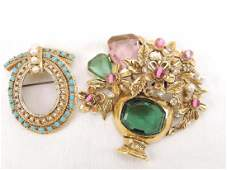 Lot of 2 costume jewelry brooches