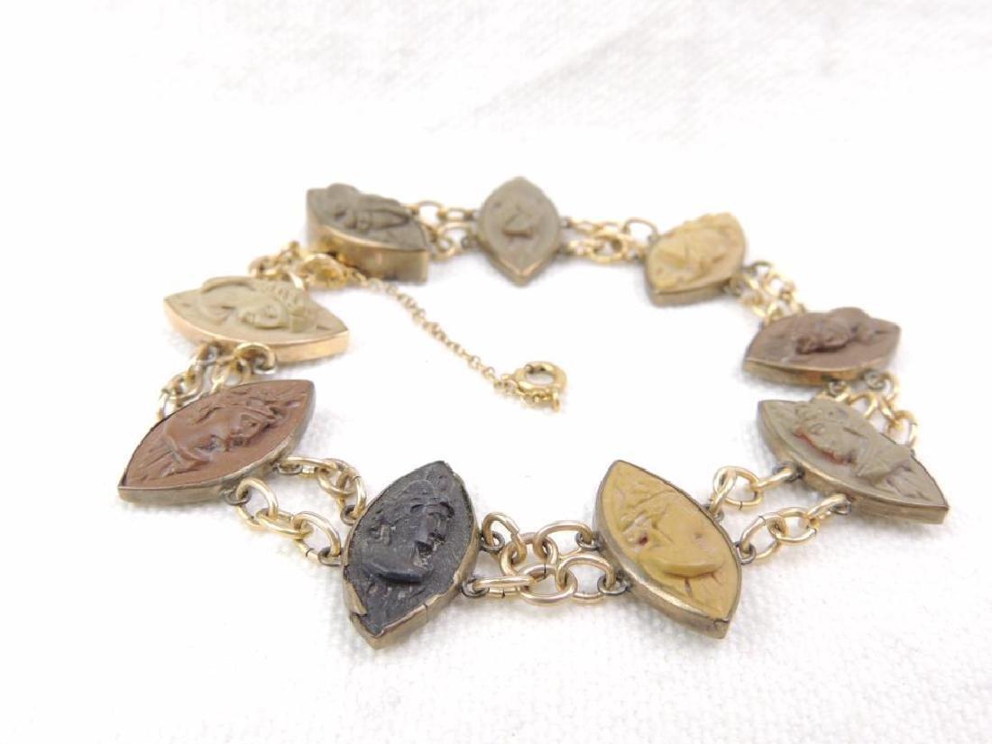 Victorian lava cameo gold filled bracelet