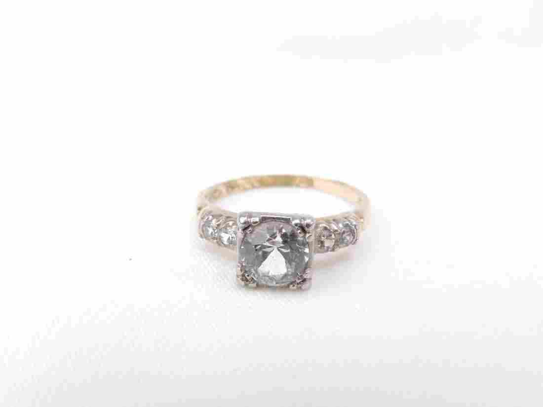 10K white gold white topaz ring